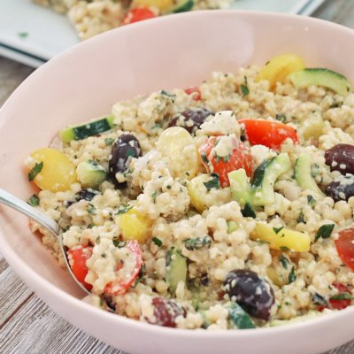 Couscous Salad with Lemon Tahini Dressing