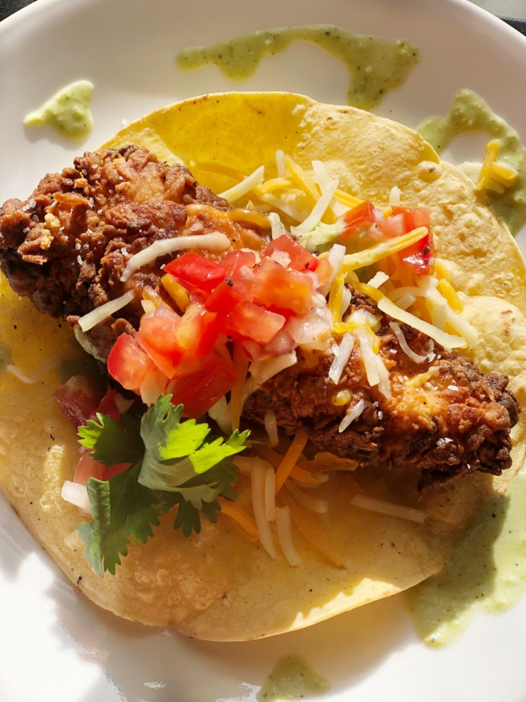 Fried Chicken Taco with Poblano Sauce