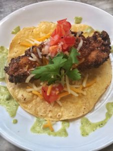 Fried Chicken Tacos with Poblano Sauce