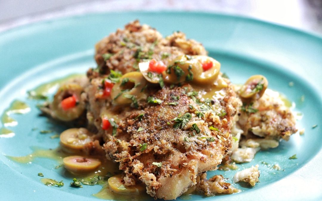 Fried Snapper with Green Olive Vinaigrette