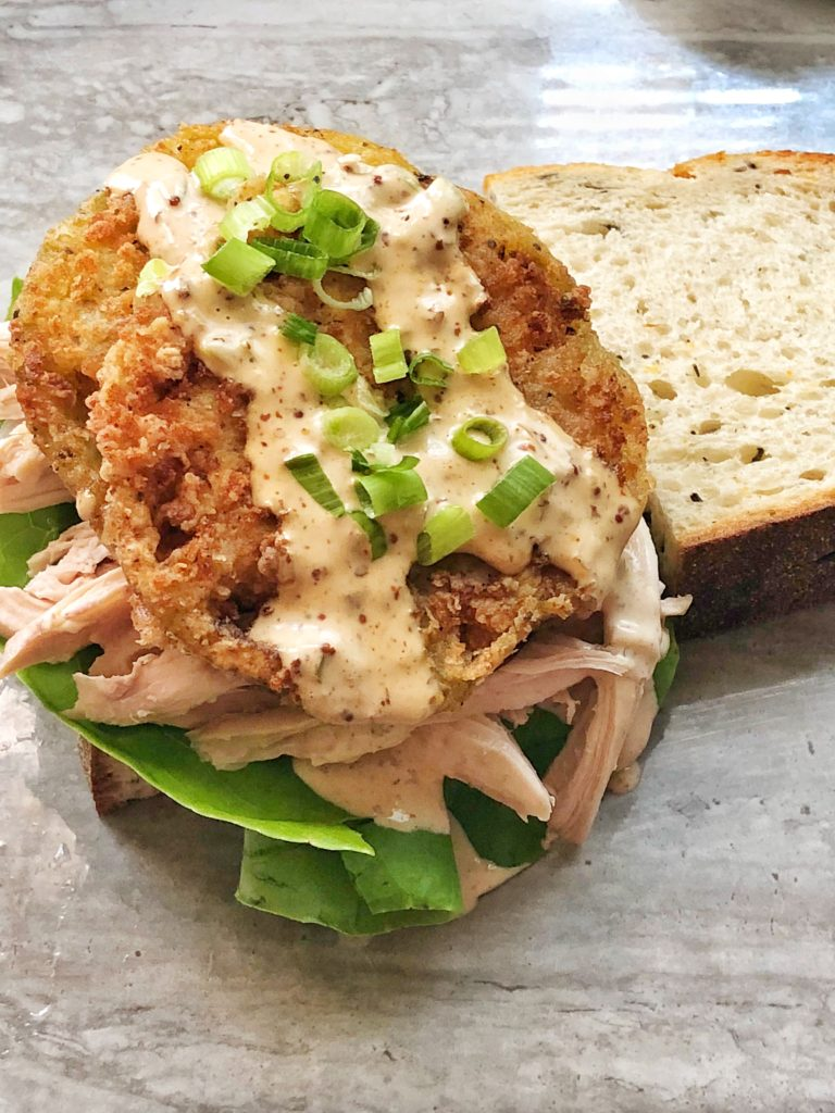 Fried Green Tomatoes with Pulled Chicken