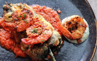 Grilled Shrimp Chile Rellenos