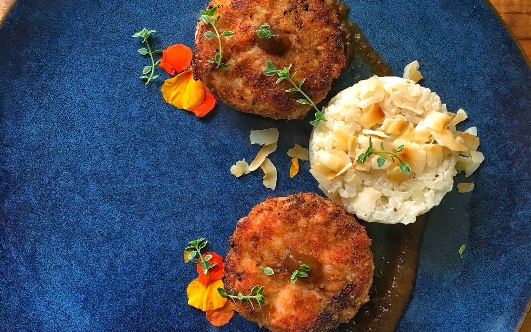 Jerk Salmon Cakes with Coconut Rice