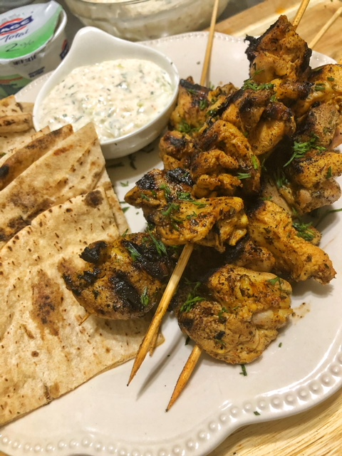 Lemon Pepper Chicken Skewers with Tzatziki Sauce