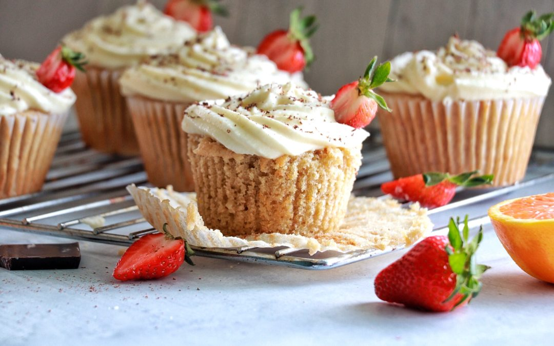Orange Strawberry Cupcakes with Mascarpone Icing