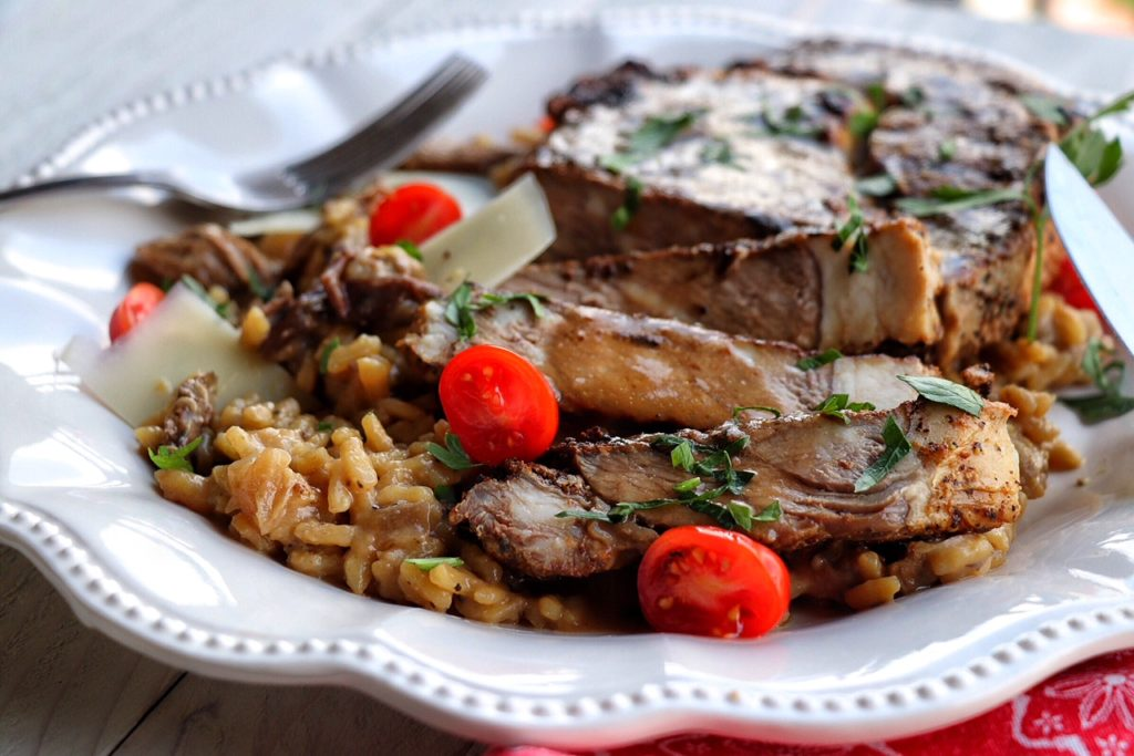 Rib-Eye with Porcini Risotto