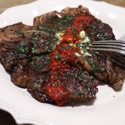 T-bone with Rosemary Hash Browns