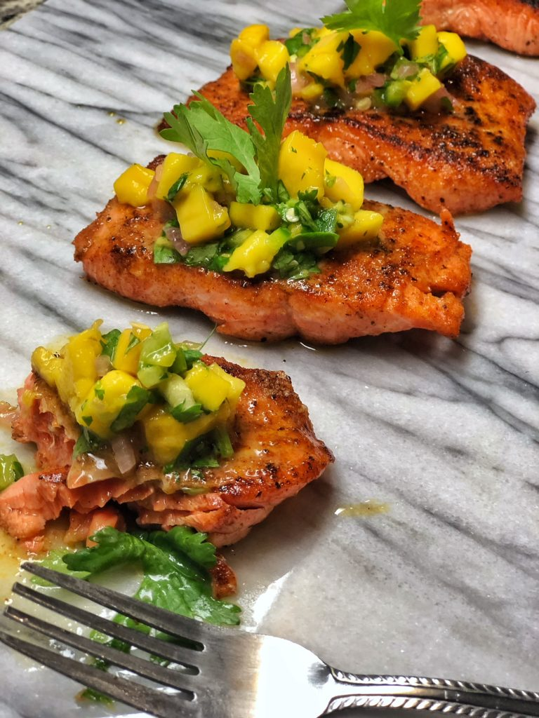 Tequila Lime Salmon with Mango Salsa