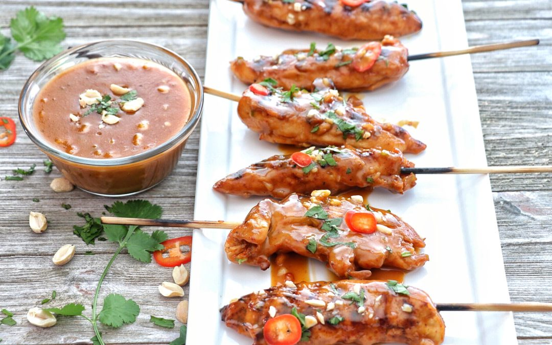 Bangkok Chicken Skewers with Peanut Sauce