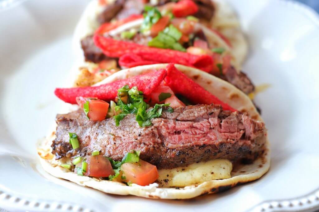 Steak, Egg and cheese tacos