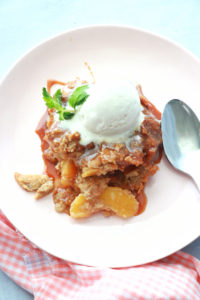 Peach Bread Pudding with Caramel Sauce