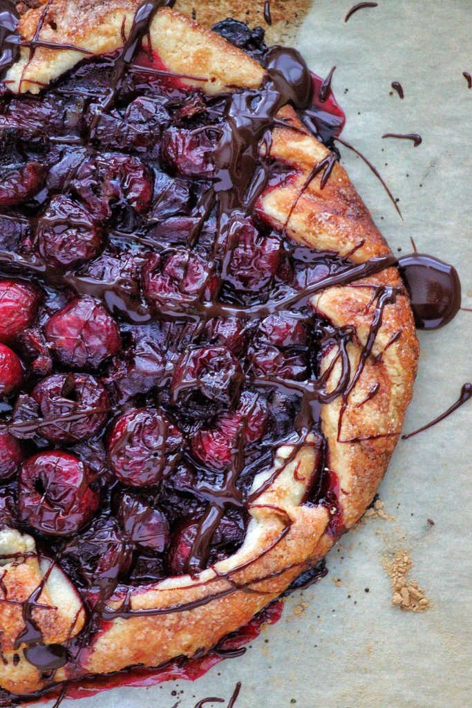 Cherry Galette with Chocolate Port Sauce